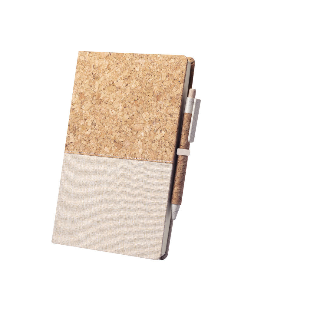 Блокнот BRASTEL твердая обложка, 80 листов, Натуральная пробка, солома, ручка в комплекте