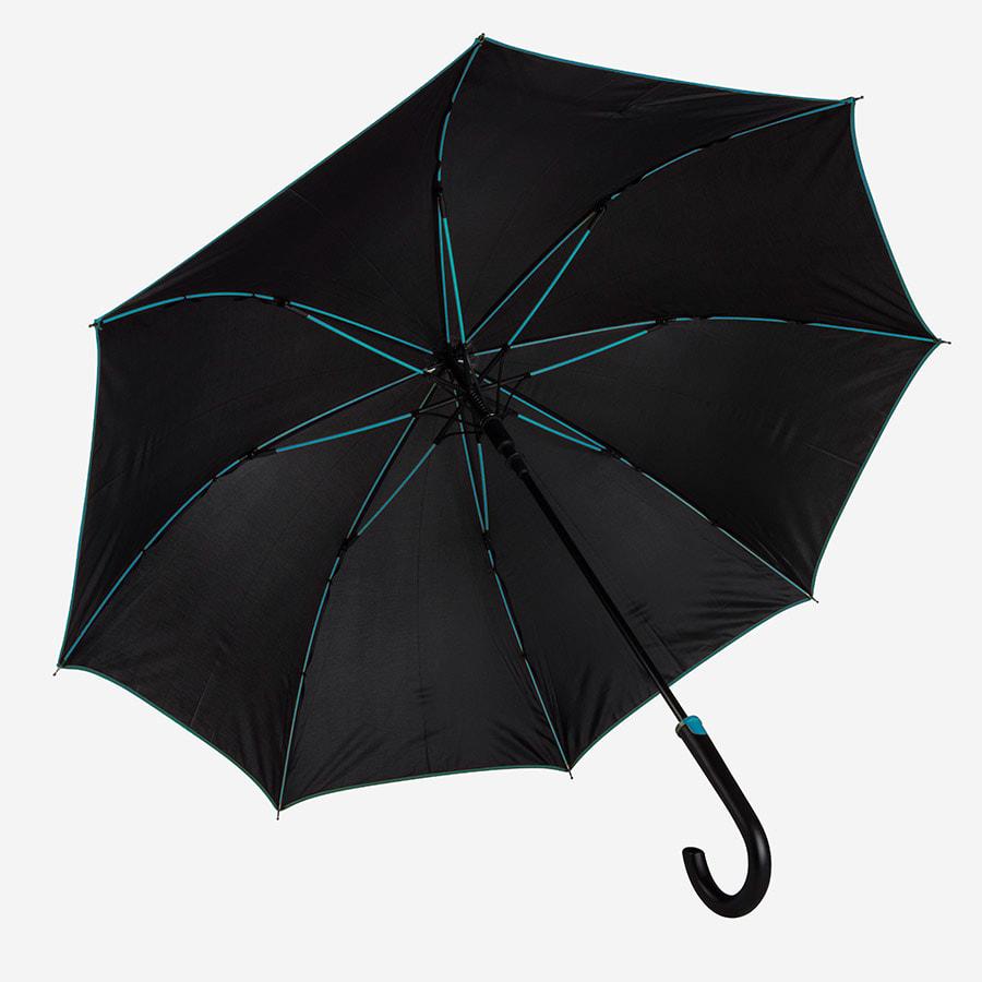 Зонт-трость BACK TO BLACK, пластиковая ручка, полуавтомат